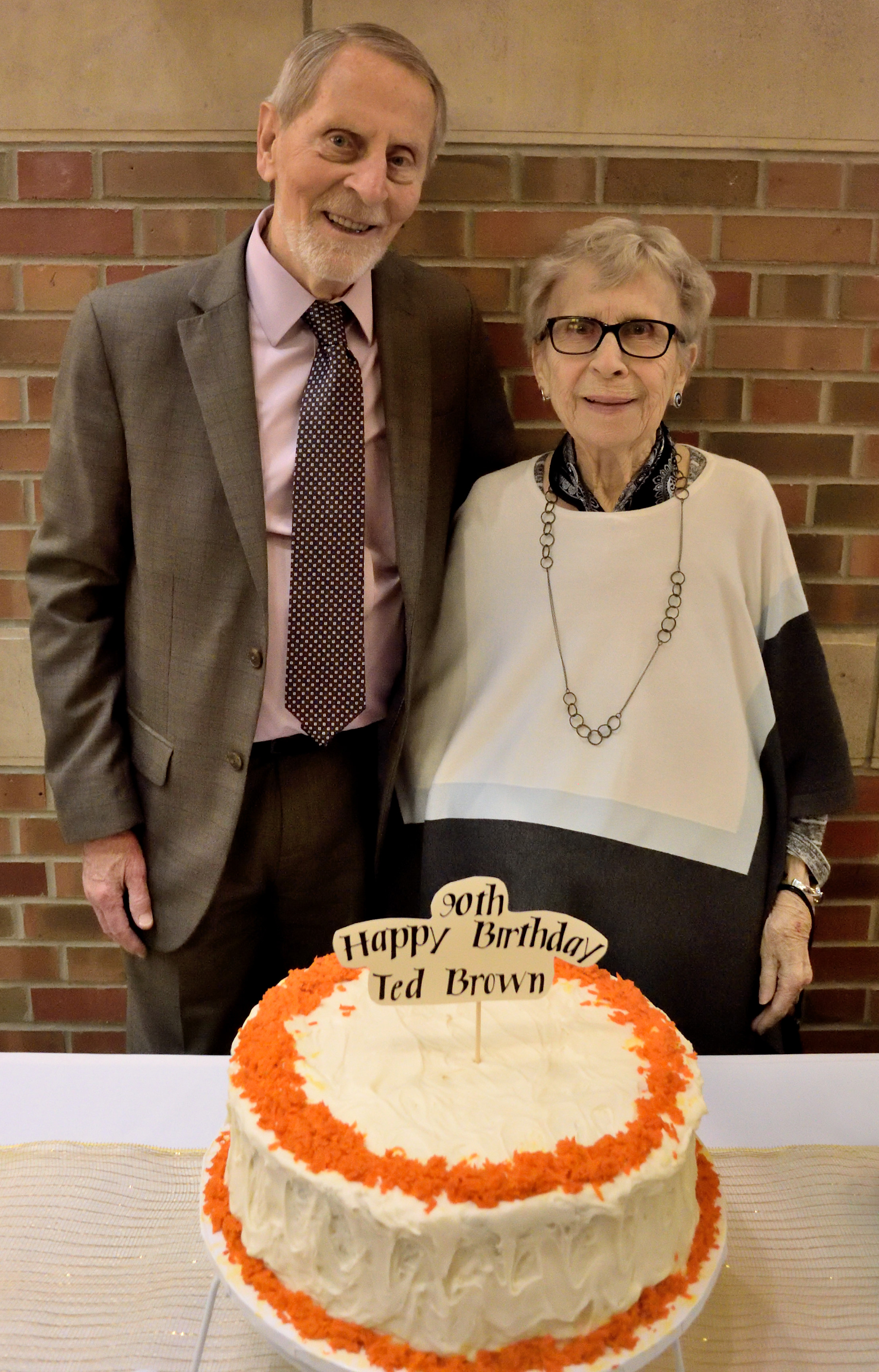 Ted & Audrey with his 90th birthday cake