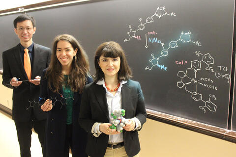 Photo of graduate students Kaibo Feng and Raundi E. Quevedo, and Professor M. Christina White in front of a blackboard with their equation written on it.