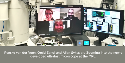 Photo of computer screen showing Zoom meeting between Renske van der Veen, Omid Zandi and Allan Sykes