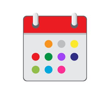 Illustration of a calendar with multi-colored circles instead of dates