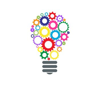 Illustration of a lightbulb with multi-colored gears where the glass should be