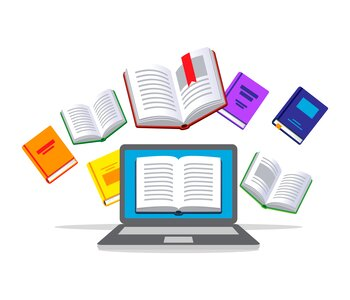 Illustration of a laptop and many books