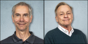 Head shots of Professor Martin Gruebele, left and Research Professor Stephen Sligar, right
