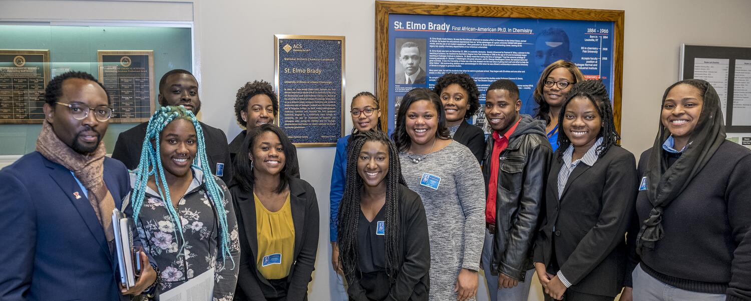 Photo from the St. Elmo Brady landmark event including people of color from UIUC, Xavier, Houston, Fisk, Howard, Tougaloo, Tuskegee & 3M