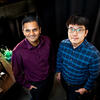 Chemistry professor Prashant Jain, left, and postdoctoral researcher Sungju Yu have developed an artificial photosynthesis process that converts excess CO2 into valuable fuels, bringing green technology one step closer to large-scale solar energy storage. Photo by Fred Zwicky