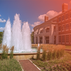 Photo of the fountain outside the Alice Campbell Alumni Center on campus